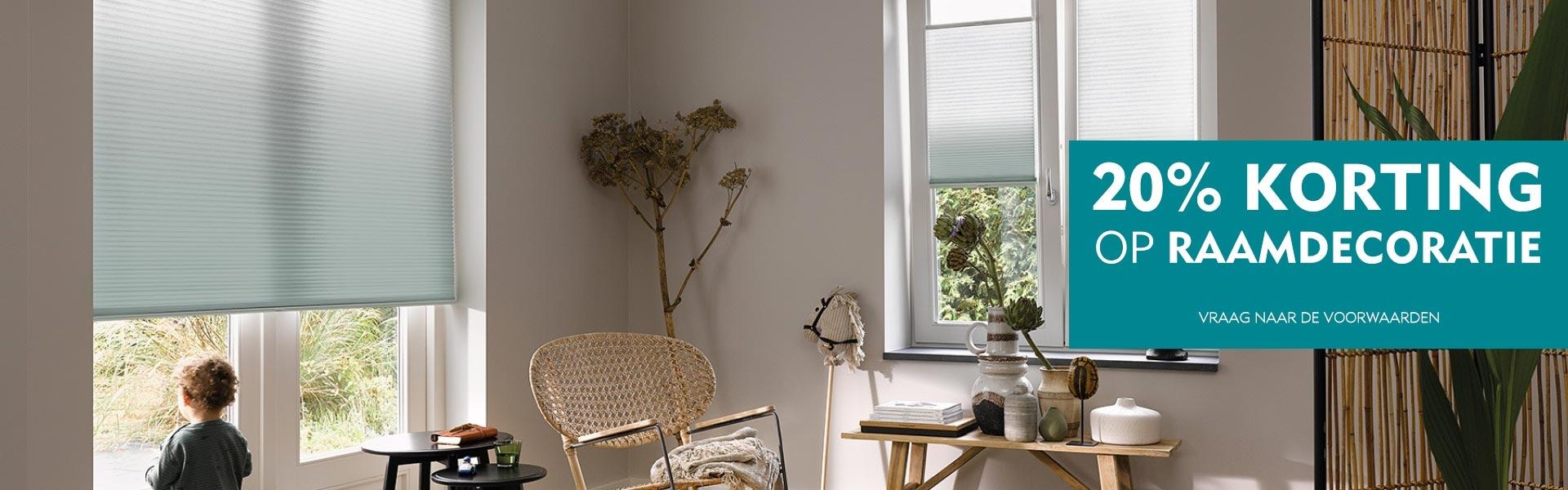 20% korting op raamdecoratie